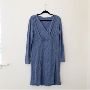 ATHLETA WRAP IT UP LONG SLEEVE DRESS HEATHER BLUE